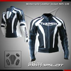 New Triumph Motorcycle motorbike rider racing leather jacket MPJ-139(US 38-48)