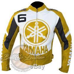 New YAMAHA 6 Motorbike Motorcycle Biker Racing Yellow Genuine Leather Jacket