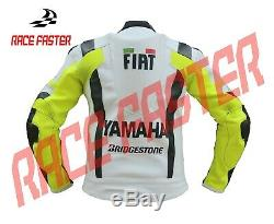 New Yamaha Fiat Vr46 Rossi Men Motorbike Motorcycle Racing Leather Jacket Xs-3xl