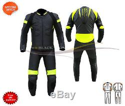 One piece leather suit all sizes in florescent yellow and black leather suit