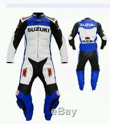One piece leathers suit Suzuki Motorbike leathers custome leather jacket & pants