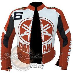 Orange YAMAHA 6 Motorbike Motorcycle Biker Cowhide REAL Leather Armour Jacket