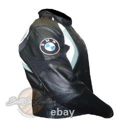 Original Black BMW 3877 Motorbike Leather Jacket Motorcycle Armoured Biker Coat