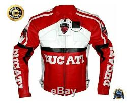 Original Cowhide Leather Certified Armours Ducati Red Motorbike Jacket