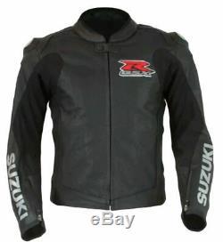 Original Cowhide Leather Certified Armours Suzuki Gsx Black Motorbike Jacket