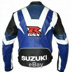 Original Cowhide Leather Certified Armours Suzuki Gsxr Blue Motorbike Jacket
