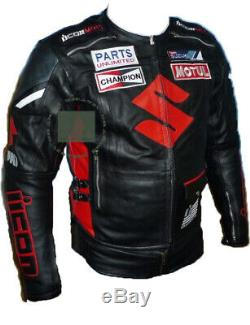 Original Cowhide Leather Certified Armours Suzuki Icon Black Motorbike Jacket