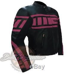 PINK YAMAHA 0120 Motorcycle Motorbike Biker Real Leather Jacket for Women Girl