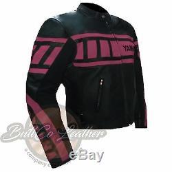 PINK YAMAHA 0120 Motorcycle Motorbike Gear Genuine Leather Jacket Her Women Girl