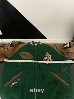 Polo Ralph Lauren Medium Letterman Varsity Jacket Leather RRL Rugby Old Boys