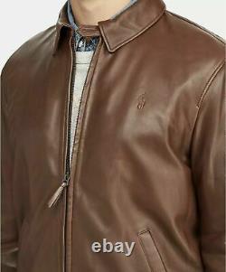 Polo Ralph Lauren Men's Lambskin Leather Jacket Bison Brown- Medium