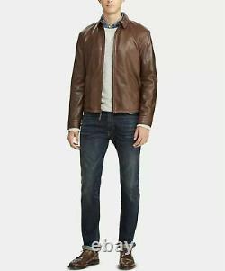 Polo Ralph Lauren Men's Lambskin Leather Jacket Bison Brown- Small
