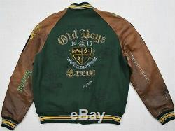 Polo Ralph Lauren Wool Blend Leather Old Boys Crew Varsity Jacket M Medium $898