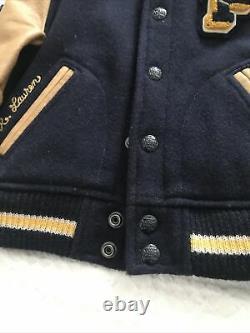 Polo Ralph Lauren Wool Leather Stadium P Patch Letterman Varsity Jacket Boy Sz 5