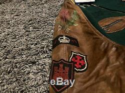 Polo Ralph Lauren green brown leather Old Boys vintage varsity jacket coat M 38`