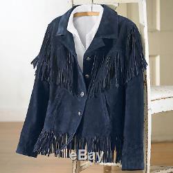 QASTAN Men's New Blue Western / Cow Boy Fringes Cow Suede Leather Jacket QMFJ90