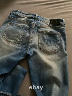 R13 Denim Blue Boy Skinny Rips 25 Distressed Low Rise Very Stretch Leather Logo