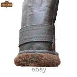 RAF B3 For Mens Stylish Brown Jacket Real Shearling Inner Fur Sheep Leather Coat