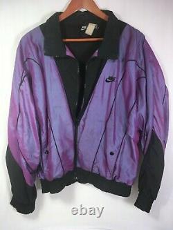 RARE Vintage 90's Purple NIKE Air Flight Era Windbreaker Jacket Large Iridescent