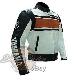 REAL Orange YAMAHA 5241 Leather Jackets For Motorcycle Riders Motorbike Jacket