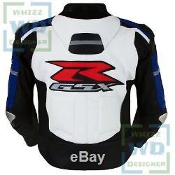 RETRO MOTORBIKE JACKET. Suzuki 1078 Blue Cowhide Leather Motor cycle Biker Coat