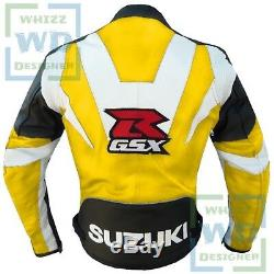 RIDDING GEAR FOR MOTORCYCLES. Suzuki GSX YELLOW Cow Leather Biker Cowhide COAT