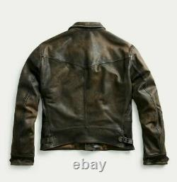 RRL Ralph Lauren DOUBLE RL sold out Newsboy Leather Jacket Size M NEW