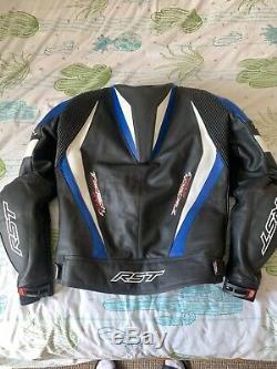 RST Motorbike Motorcycle Track Tractech Evo 3 CE Leather Jacket Back Blue