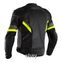 RST Sabre CE Mens Leather Sports Motorcycle Motorbike Jacket Black Grey Yellow