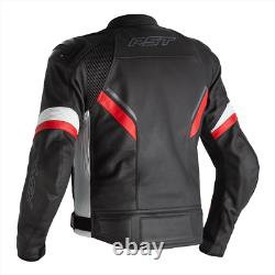 RST Sabre CE Mens Leather Sports Motorcycle Motorbike Jacket Black White Red