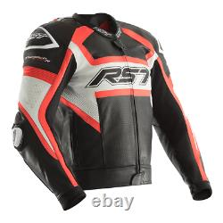 RST Tractech Evo R Leather Sports Motorcycle Motorbike Jacket Black / Flo Red 48