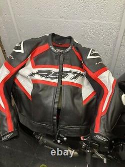 RST Tractech Evo R Leather Sports Motorcycle Motorbike Jacket Black / Red