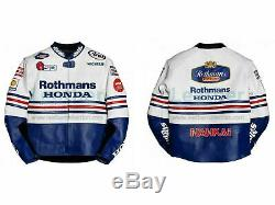 Racing Red View Rothmans Motorbike Leather Jacket Ce Approved