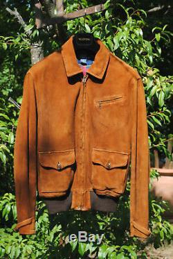 Ralph Lauren Brown Suede Newsboy Leather Jacket Lederjacke Sz. M