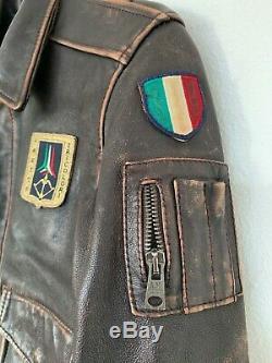 Rare Aeronautica Militare Childrens Leather Jacket Size 8