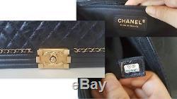 Rare Chanel Jacket Boy Medium Size Black Calfskin Leather Gold Quilted Bag