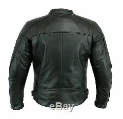 Real Leather black Motorbike Motorcycle Jacket Diamond Stitched Biker CE Armour