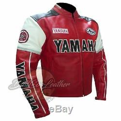 Red YAMAHA 0820 Motorbike Motorcycle Biker Armoured Gear Genuine Leather Jacket