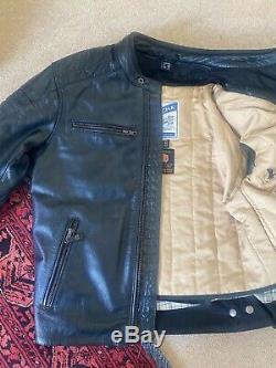 Richa Daytona 60s Motorcycle Motorbike Leather Jacket Black 42