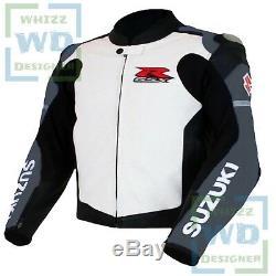 SPORTBIKE LEATHER JACKET Suzuki 1078 GREY Cowhide Motorbike Motorcycle Race Coat