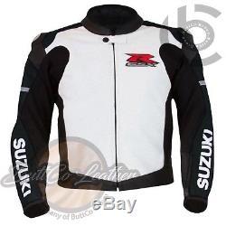 SUZUKI 1078 Black Hand Made Leather Coat Motorcycle Racing Armoured Biker Jacket