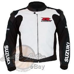 SUZUKI 1078 Black Motorbike Motorcycle Biker Armour Racing REAL Leather Jacket