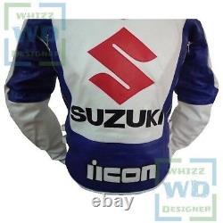 SUZUKI 4269 White Cowhide Racing Motorcycle Coat Motorbike Biker Leather jacket