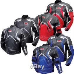 SUZUKI GSXR Mens Motorcycle Leather Jacket Racing Biker Motorbike Leather Jacket