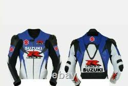 SUZUKI GSXR Motorbike Leather Jacket Mens Motorcycle Racing Biker Leather Jacket