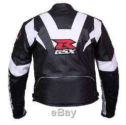SUZUKI-GSXR-Motorbike/Motorcycle Cowhide Leather Racing Jacket-CE Armored(Rep)