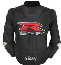 SUZUKI GSXR Racing Biker Motorcycle Leather Jacket Mens Motorbike Leather Jacket