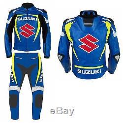 SUZUKI-S-Motorcycle Leather Jacket, Pant, Boots, Free Glove Motorbike Racer-KitRep