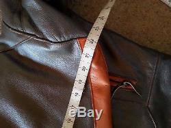 Schott Leather Jacket XL Pit 28 Harley V Rod Fat Boy Silver & Orange Cruiser