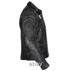 Spada Road Leather Motorcycle Cruiser Jacket Touring Motorbike Coat Black